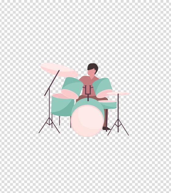 绿色音乐打架子鼓男孩插画