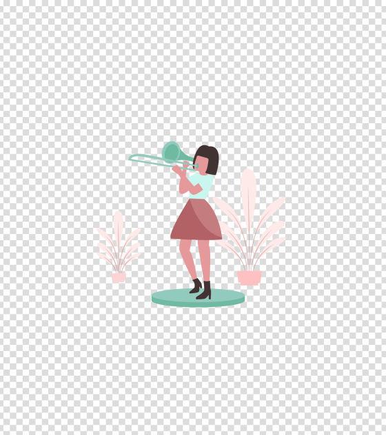 绿色乐器吹小号的女孩插画