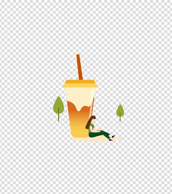 橙色夏天喝奶茶的女孩插画