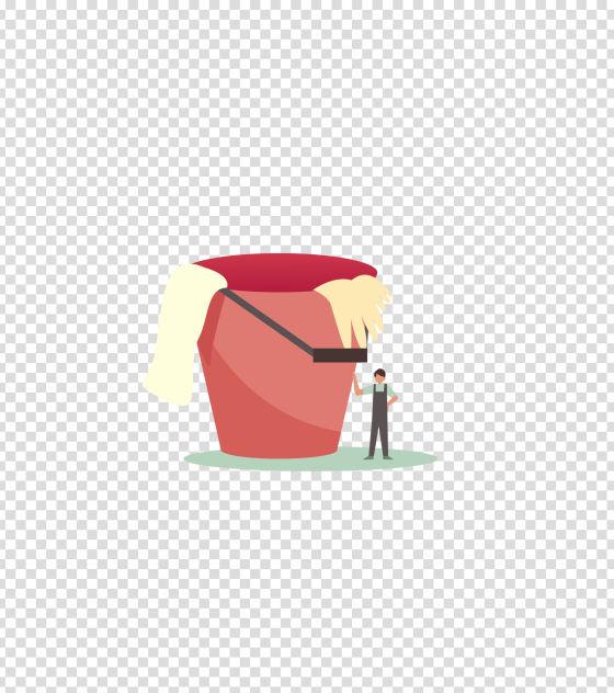 红色水桶男清洁工插画
