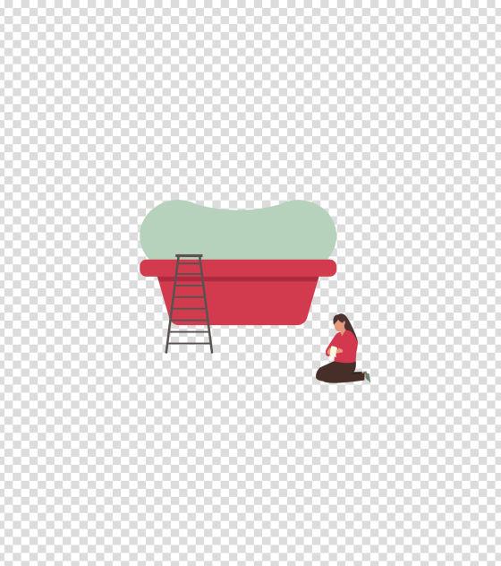 红色浴缸清洁洗浴插画