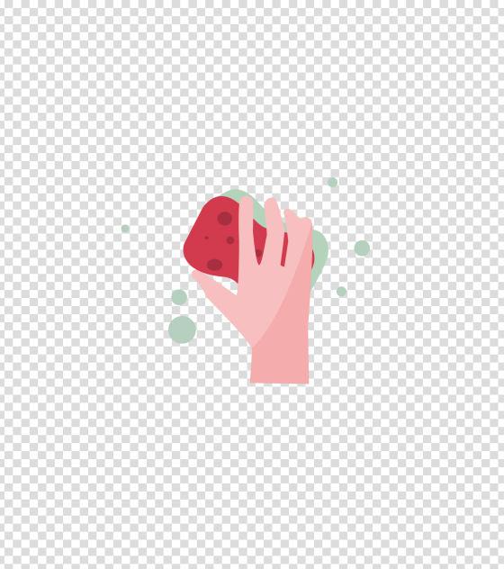 红色海绵清洁插画
