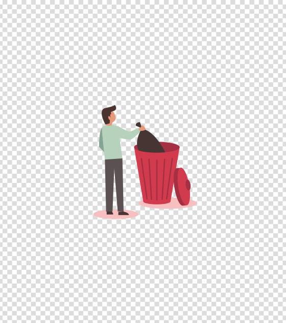红色倒垃圾的男子插画