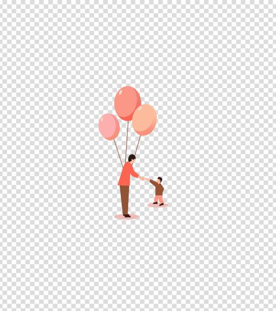 粉色给孩子气球男人插画
