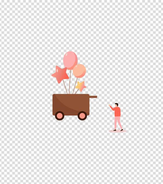粉色推车卖气球男人插画