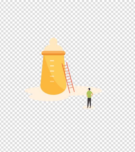 黄色拿着奶瓶的男人插画