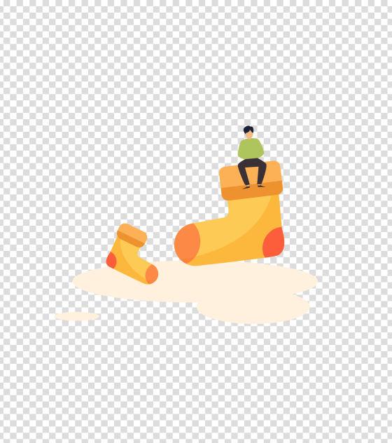 黄色袜子男子插画