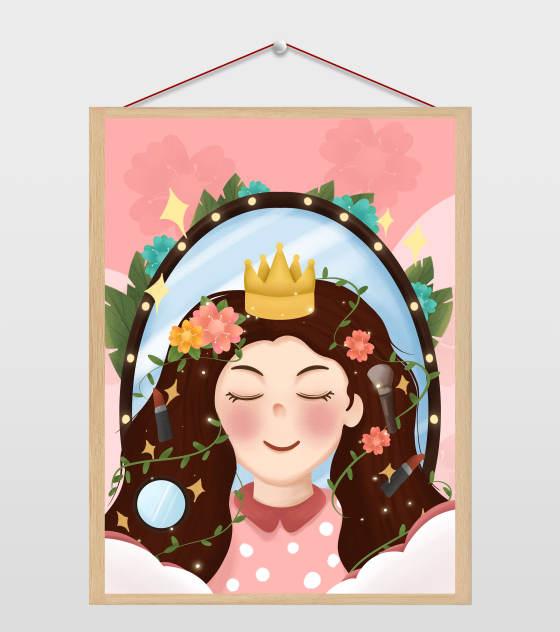 粉色皇冠女生美妆营销推广插画