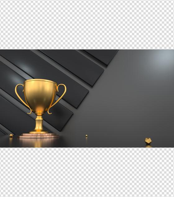 金色奖杯创意PPT背景模板