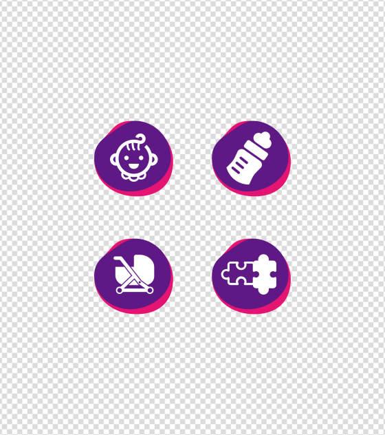 紫色婴儿儿童扁平风UI图标
