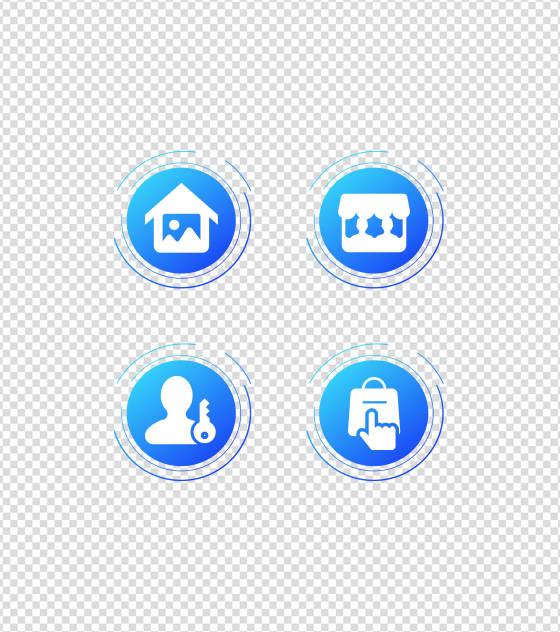 蓝色科技店铺后台购物管理UI图标