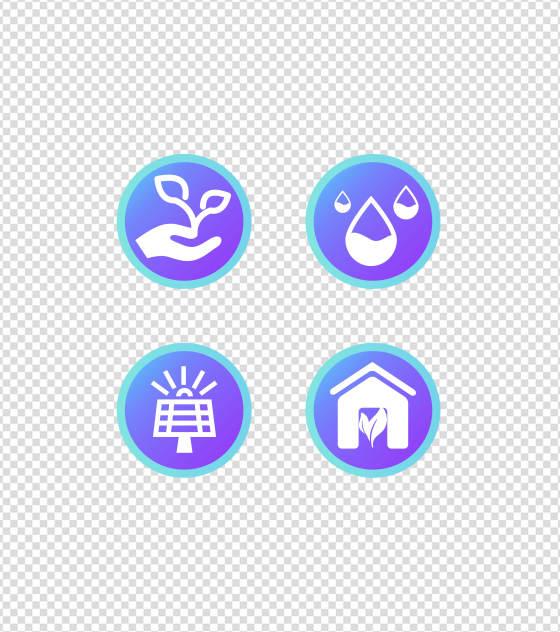 蓝色科技环保环境UI图标