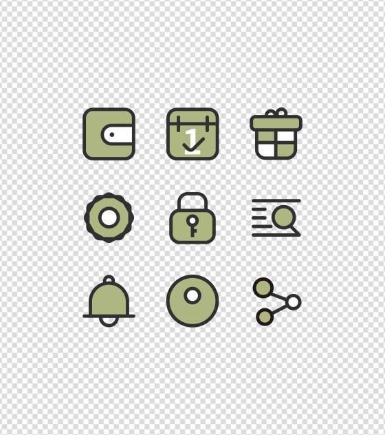 理财APP金色简约UI图标元素