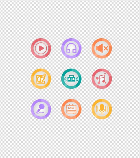 多彩音乐娱乐UI图标元素