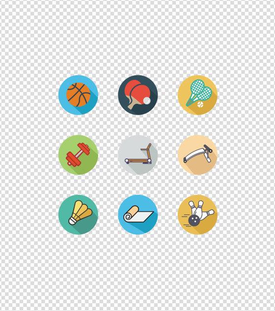 卡通运动健身娱乐UI图标元素