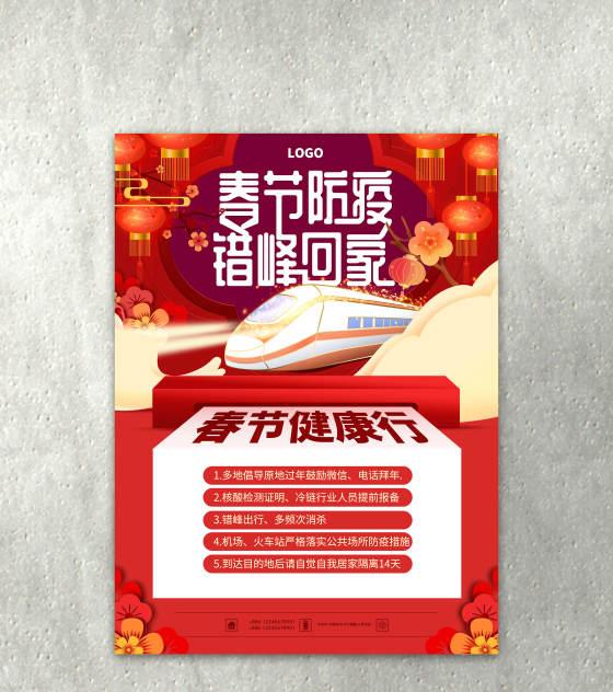 红色健康防疫春运海报