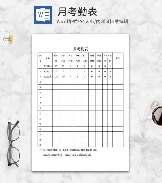 员工月考勤表word模板