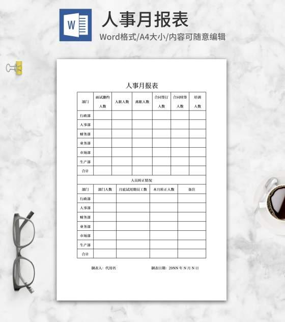 人事月报表word模板