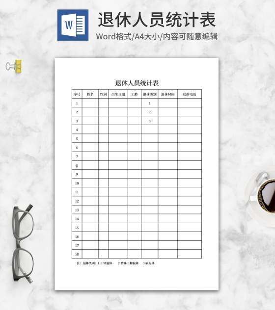 退休人员统计表word模板