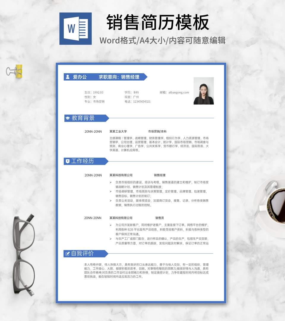蓝色标签销售简历word模板
