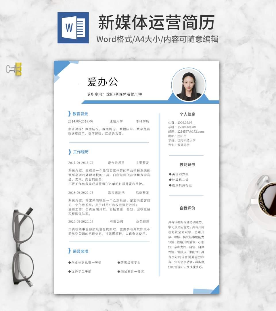 蓝色模块新媒体运营简历word模板