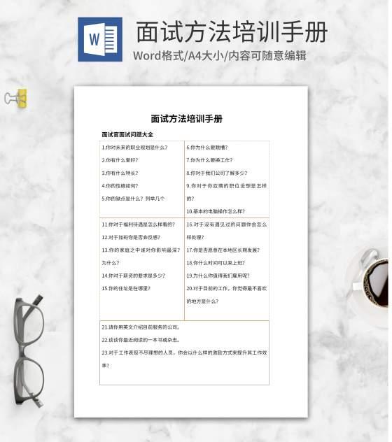 橘色线条面试方法培训手册word模板