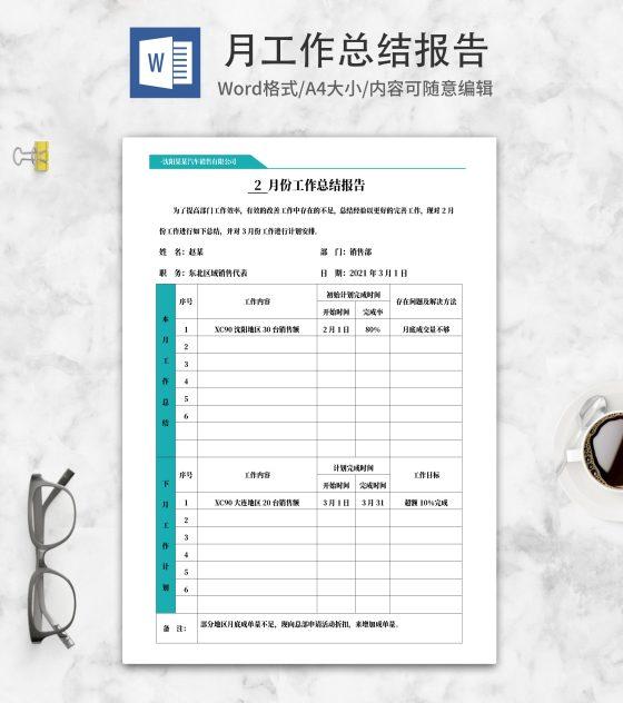 青色汽车销售月总结汇报word模板