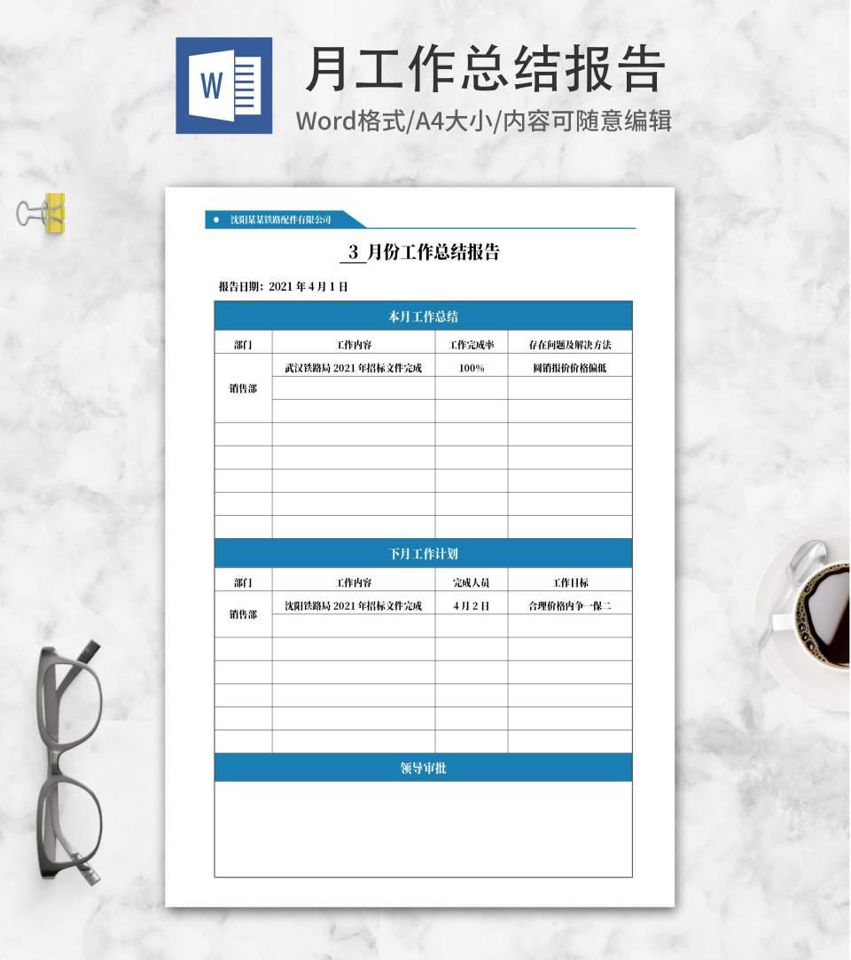 蓝色铁路公司销售总结报告word模板