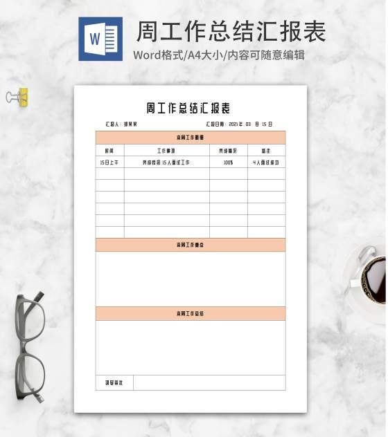 橘色人事周工作总结汇报word模板