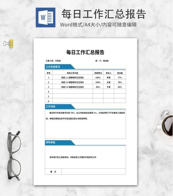 蓝色标签保洁工作汇总报告word模板