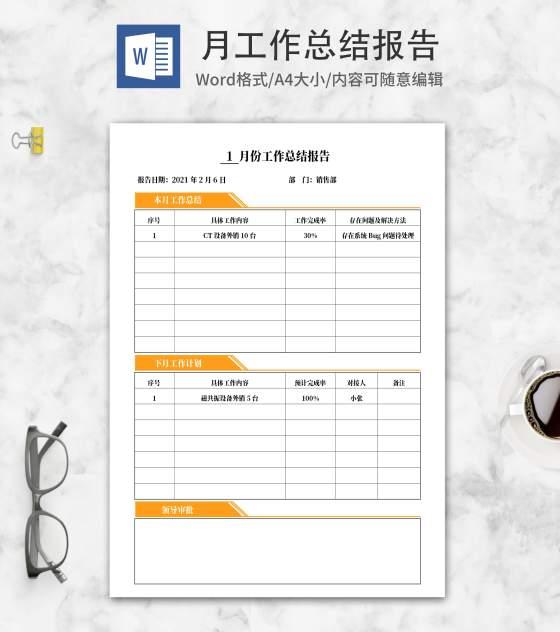 黄色标签销售部月总结报告word模板