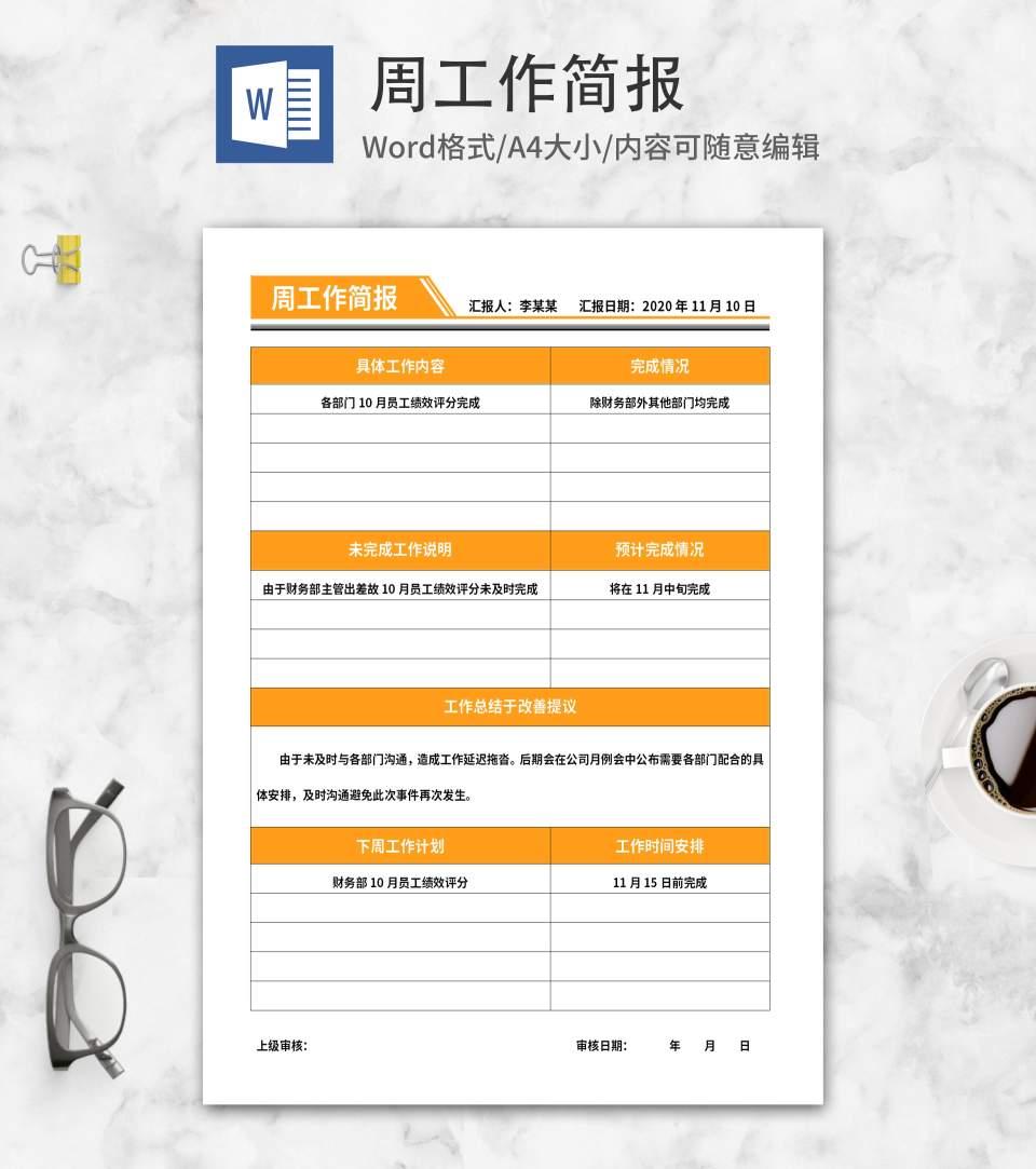 橘色部门周工作简报word模板