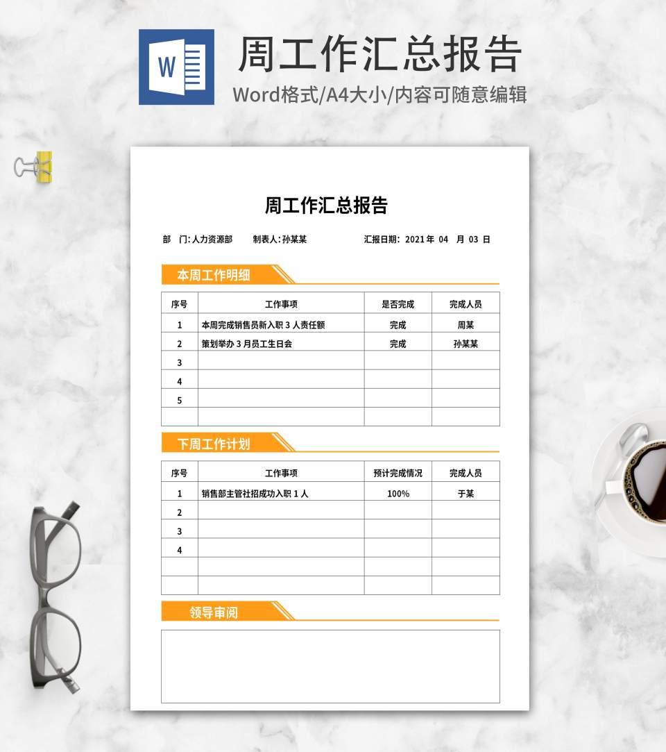 黄色人力资源工作汇总报告word模板