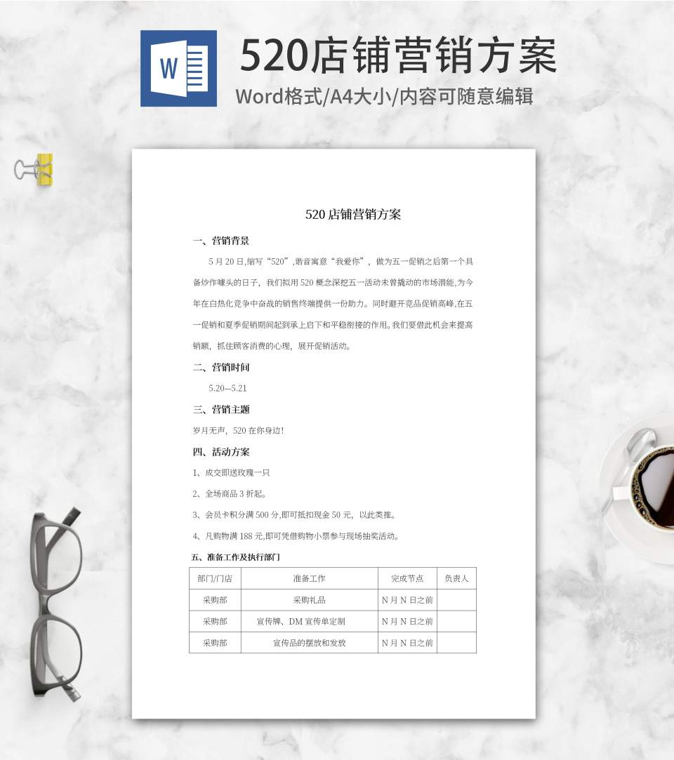 520店铺营销策划方案word模板