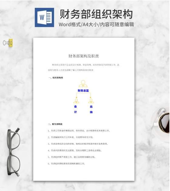 财务部组织架构word模板