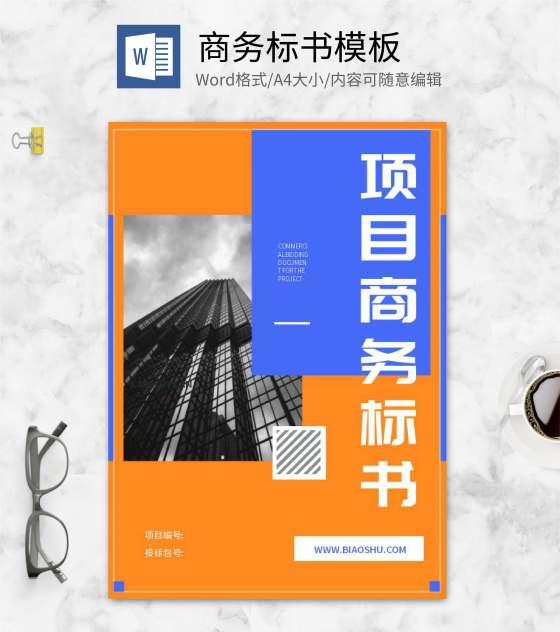 橙色几何风项目标书封面