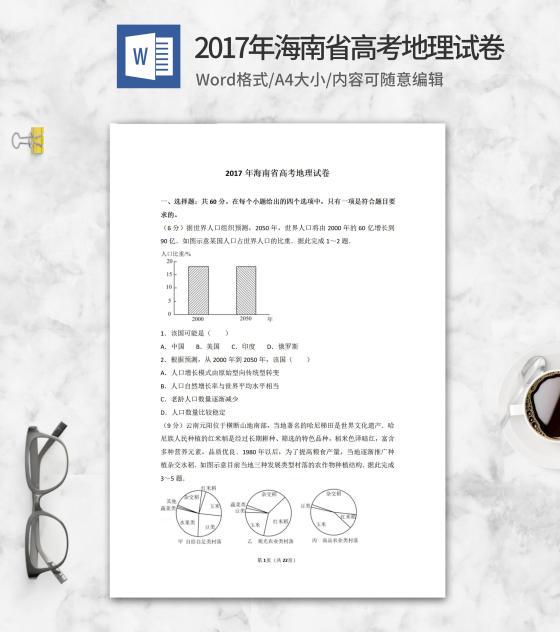 2017年海南省高考地理试卷word模板
