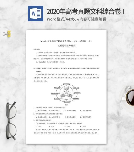 2020年高考真题文科综合卷1word模板