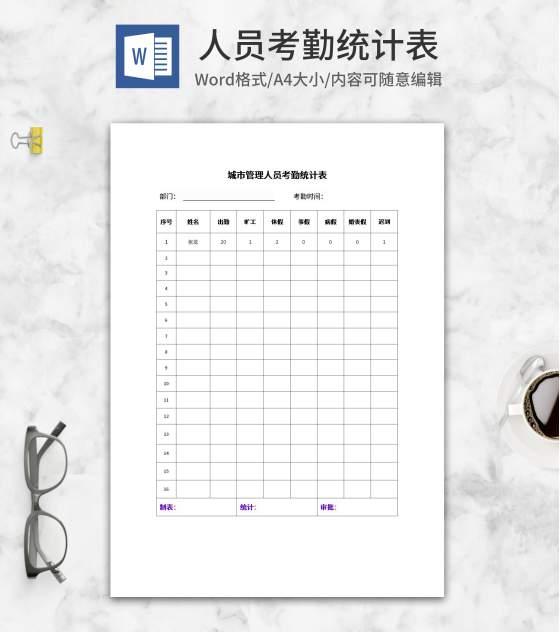 城市管理人员考勤统计表word模板