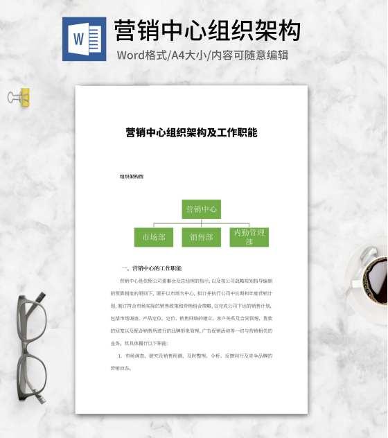 营销中心组织架构图word模板