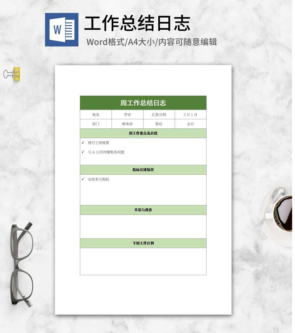 绿色周工作总结日志word模板