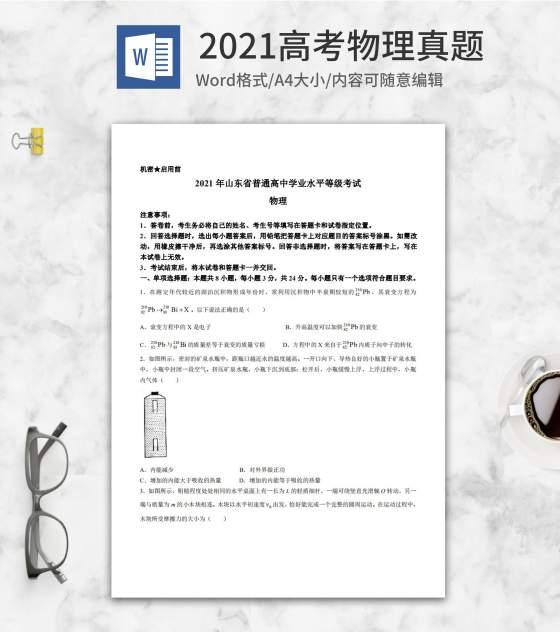 2021高考山东省自主命题物理真题word模板