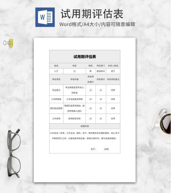 试用期企业评估表word模板