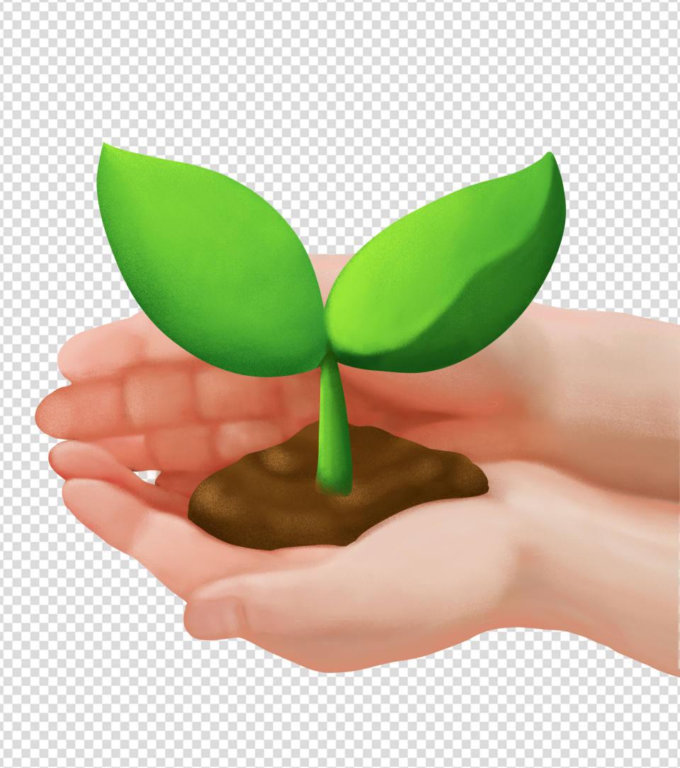 绿色简约植树节小树苗手绘元素