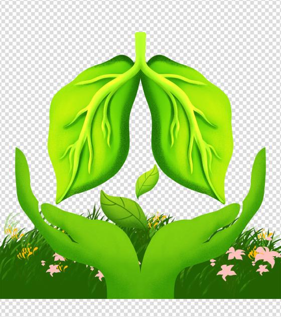 绿色肺结核手绘元素