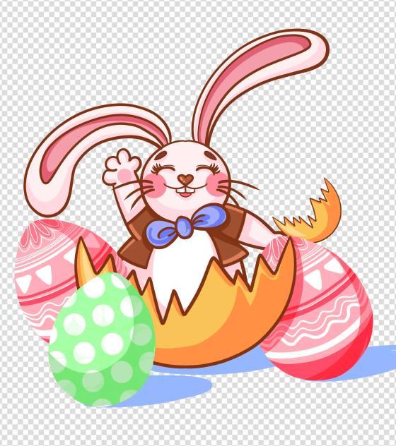 卡通可爱粉色兔子复活节元素