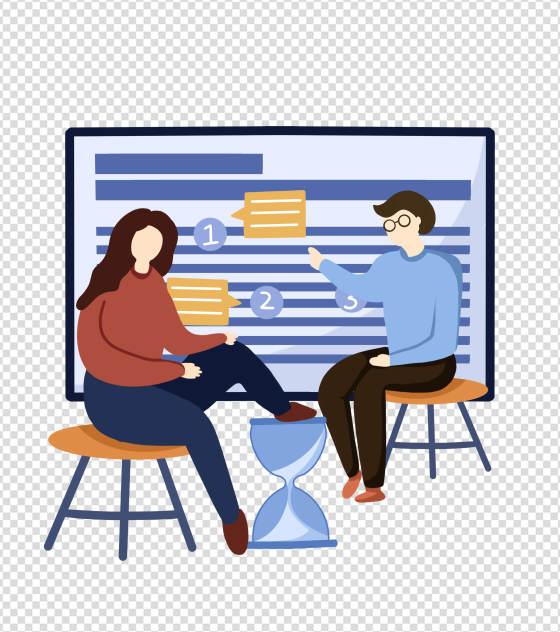 蓝色商务插画交流元素