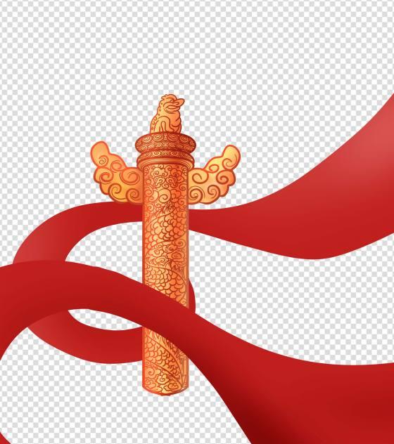 红色建党100周年华表柱元素