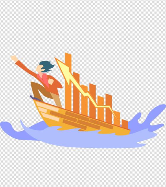 海浪船只人物上升元素