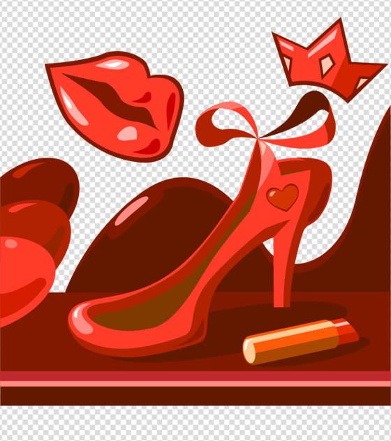 卡通红色高跟鞋手绘元素